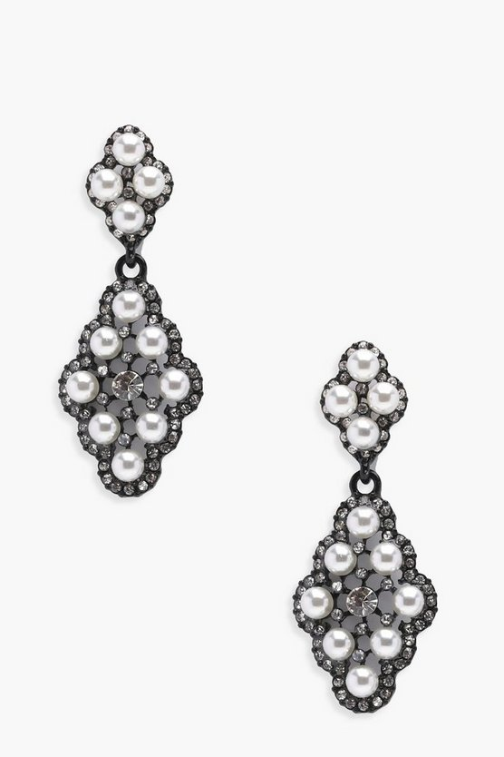 Thea Pearl And Diamante Tiered Earrings
