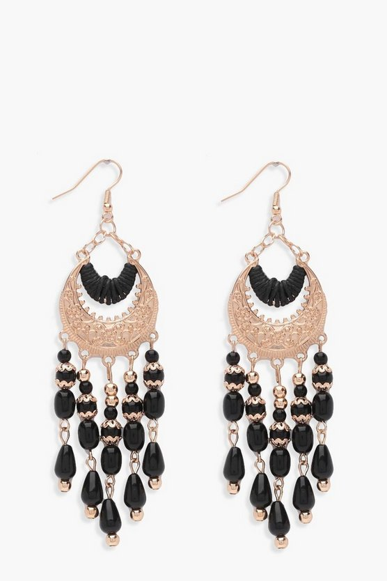 Imogen Chandelier Beaded Earrings, Gold, Donna