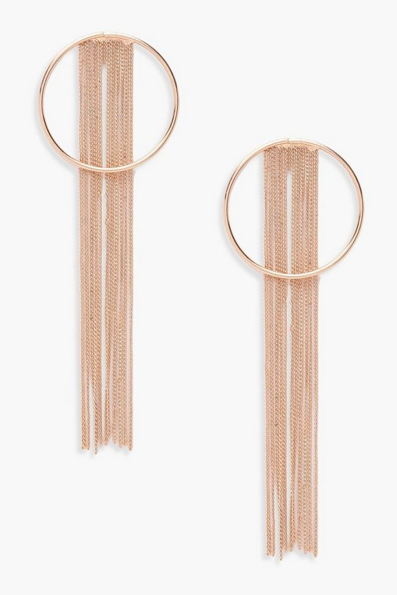 Womens Gold Chain Fringe Hoop Earrings