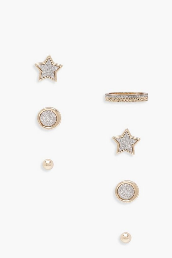 Womens Gold Lowri Star Stud And Pave Ring Set