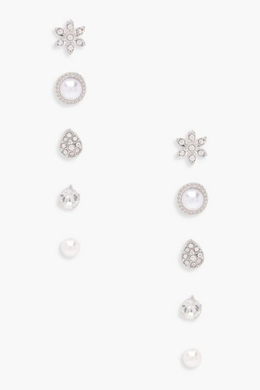 Womens Silver Eva Pearl And Diamante Studs 5 Pack