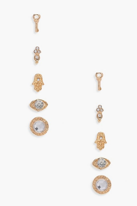 Ivy Diamante Mixed Stud Earrings 5 Pack