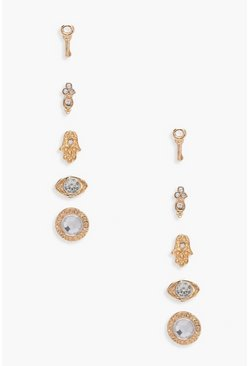 Womens Gold Ivy Diamante Mixed Stud Earrings 5 Pack