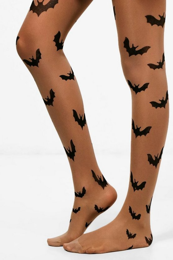 Womens Nude Sophia Halloween Bat Tights