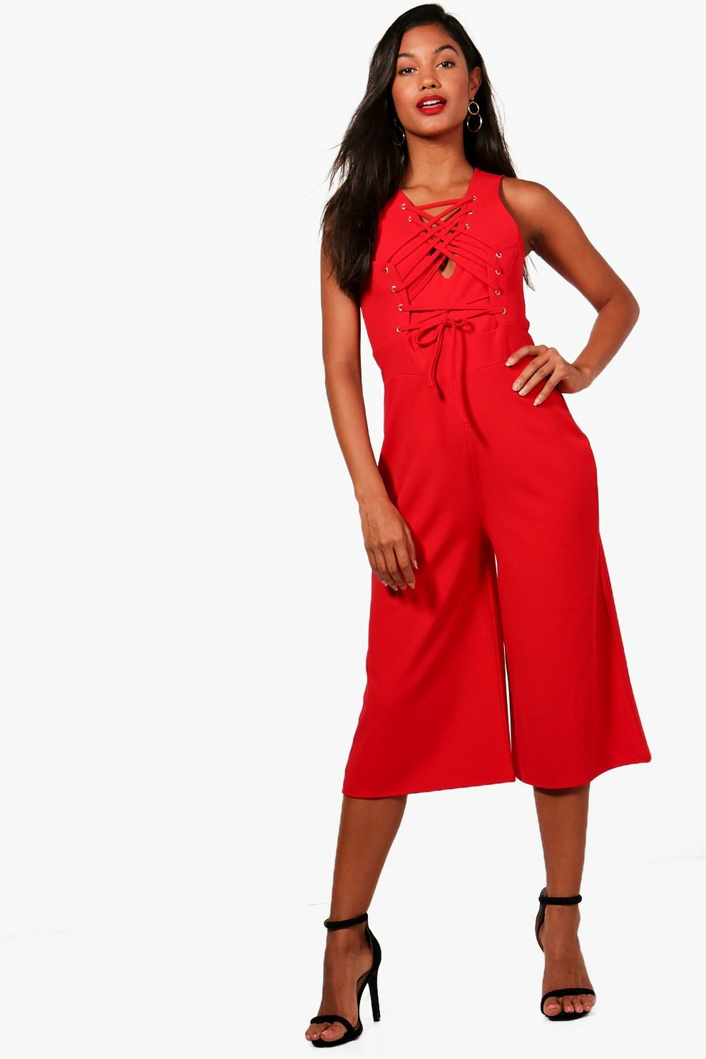 3a65777a0d1 Womens Red Eyelet And Lace Up Culotte Jumpsuit