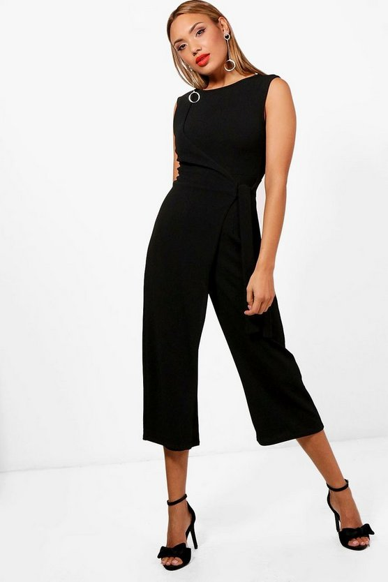 Womens Black Wrap Front Culotte Jumpsuit