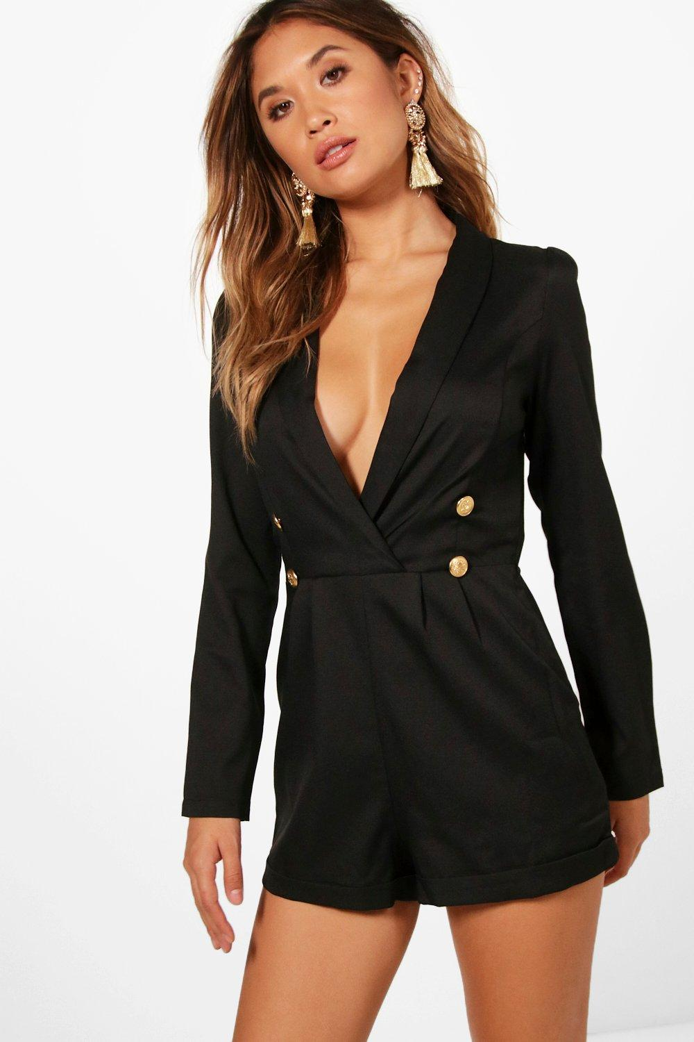 black Military Button Tuxedo Tuxedo black Military black Playsuit Playsuit Military Button Tuxedo Button Military Playsuit pg4AqW0px