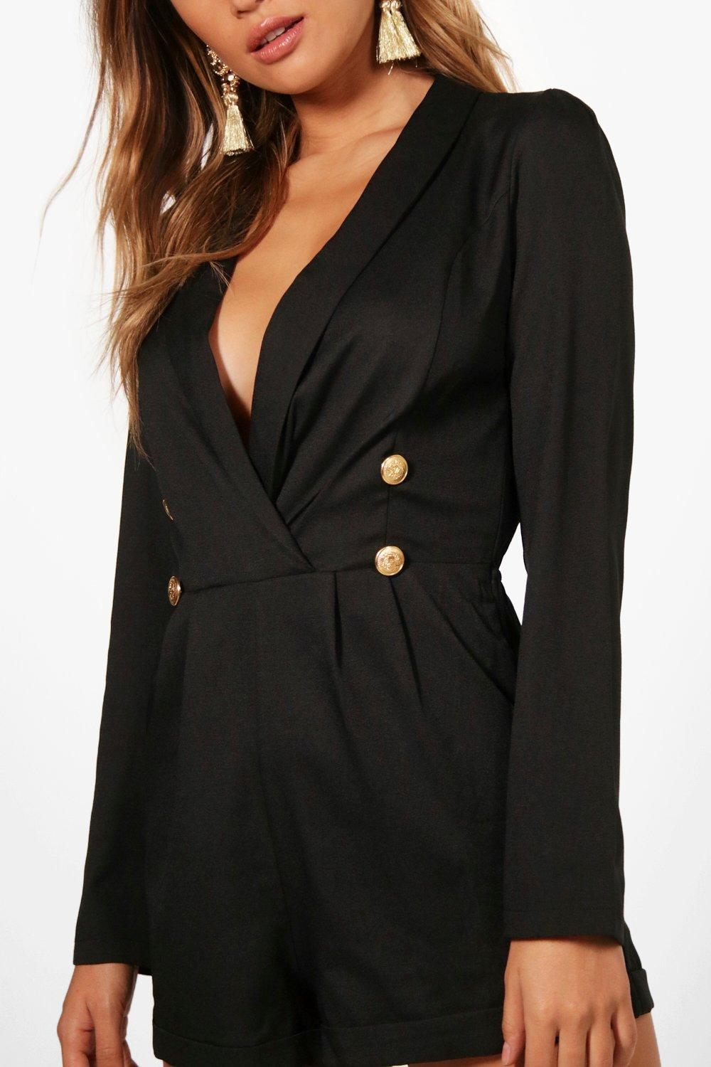 Military Tuxedo Playsuit Military Playsuit Button Button Military black Button Tuxedo black Tuxedo tFnHwqTz0