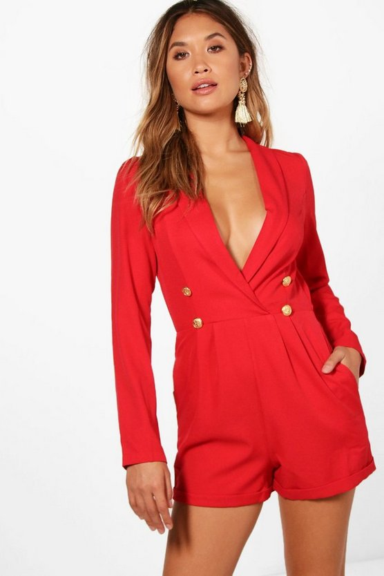 Elisa Military Button Tuxedo Playsuit