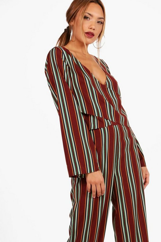 Hannah Stripe Wide Sleeve Wrap Top