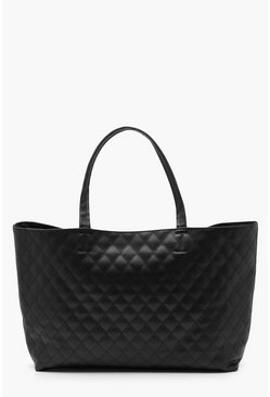 Womens Black Alicia Quilted Shopper Bag