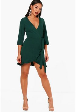 Womens Evergreen Formal Tie Wrap Frill Detail Skater Dress