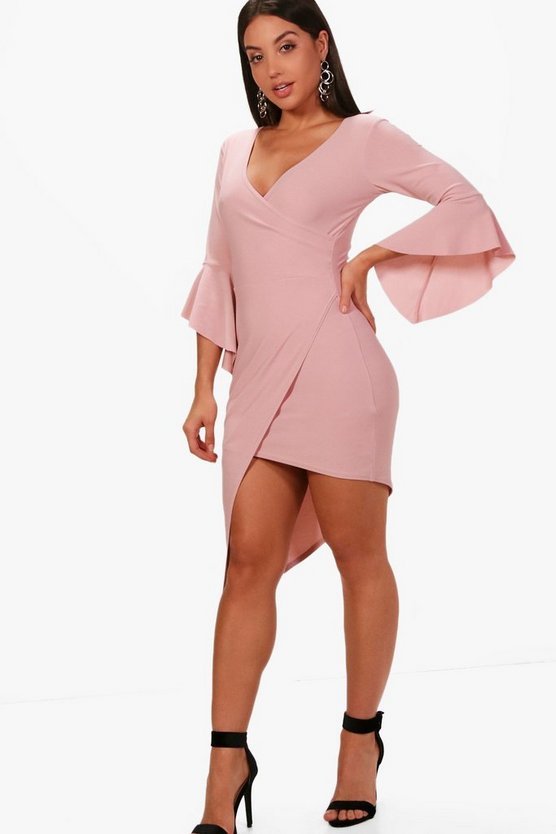 Sophia Wrap Top Flute Sleeve Midi Dress
