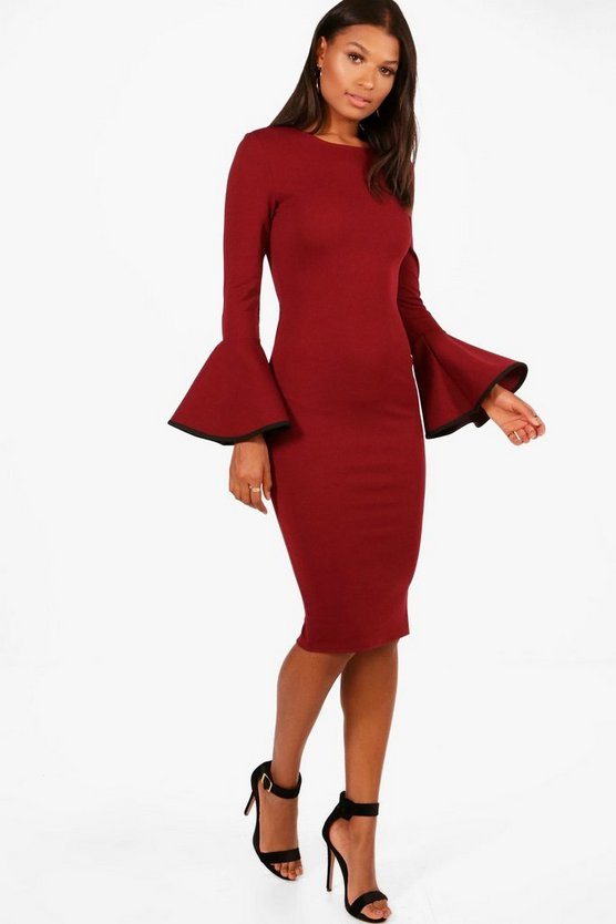 Flared Sleeve Contrast Tipping MiDress