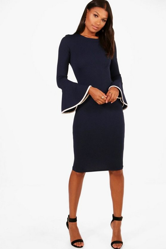 Flared Sleeve Contrast Tipping Midi Dress