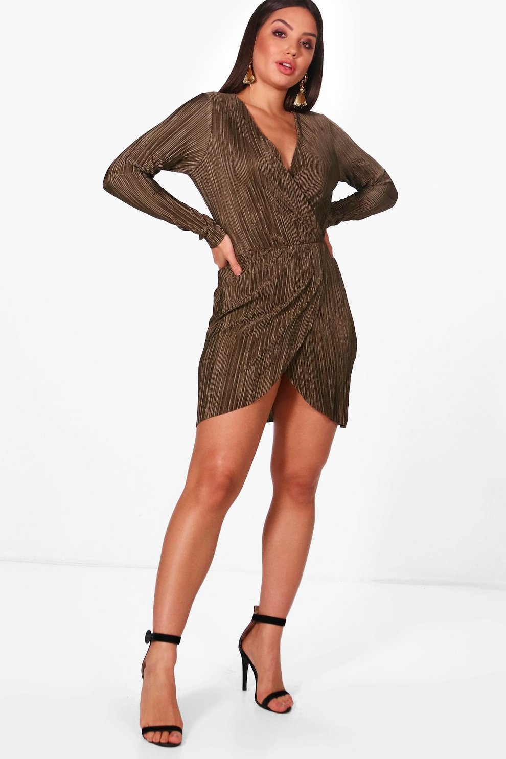 c8c8aba25db3 Pleated Long Sleeve Wrap Dress | Boohoo