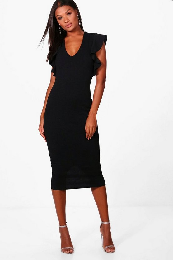 Womens Black Frill Sleeve Plunge Midi Dress