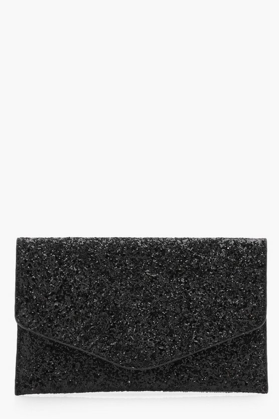 Womens Black Glitter Clutch With Chain