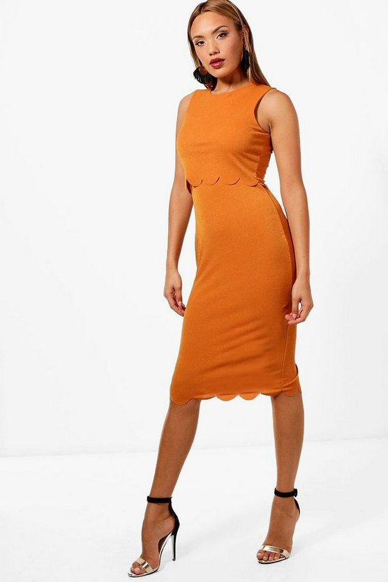 Scallop Edge Double Layer Midi Dress