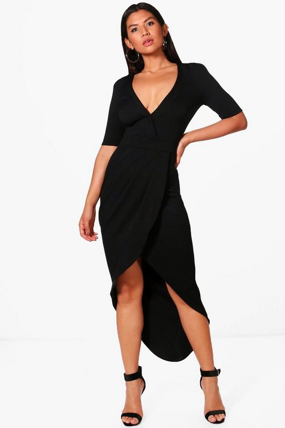 Power Shoulder Wrap Detail Maxi Dress