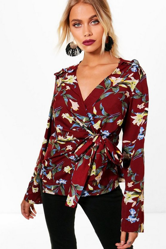 Womens Burgundy Floral Wrap Ruffle Top