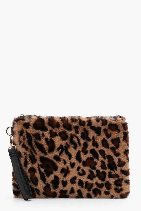 Leopard Faux FUr Zip Top Clutch