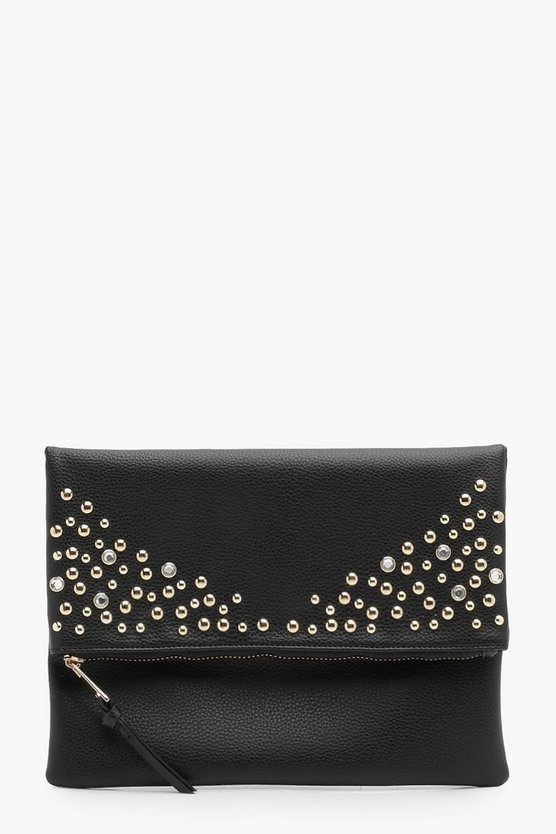 Millie Diamante And Stud Fold Over Clutch