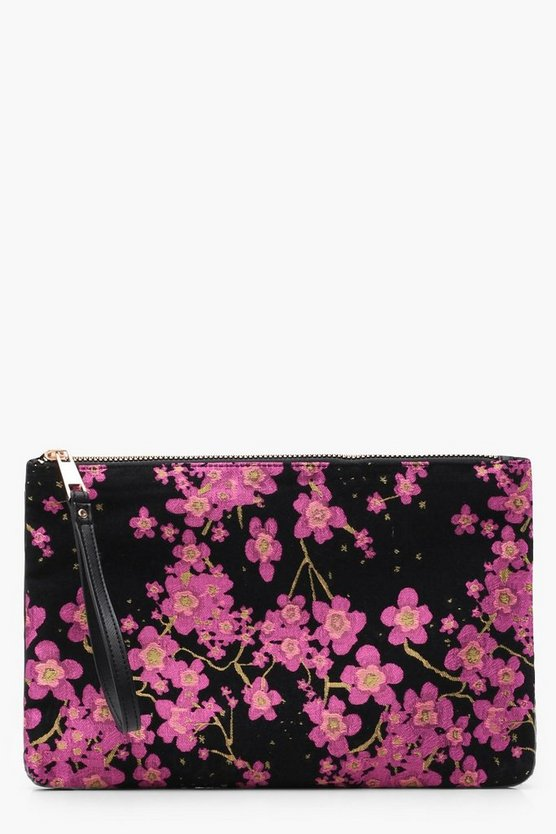 Womens Pink Cherry Blossom Satin Clutch Bag
