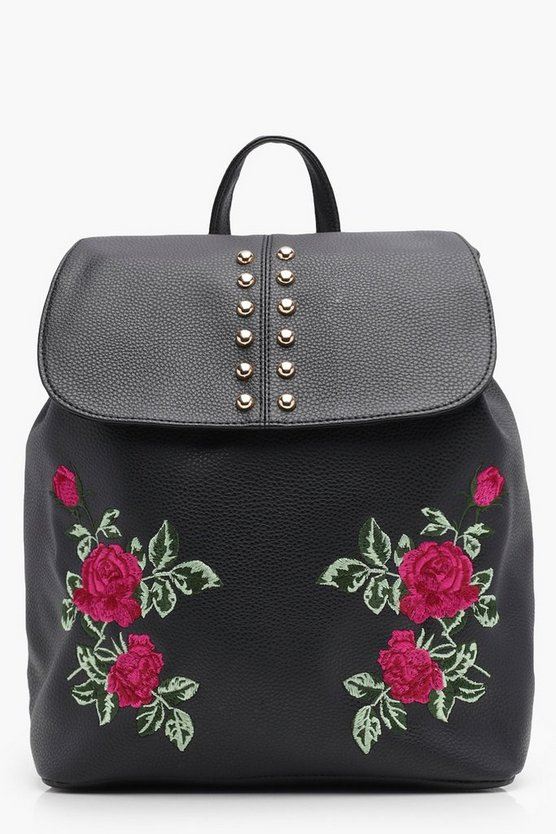 Womens Black Olivia Embroidered Stud Flap Rucksack