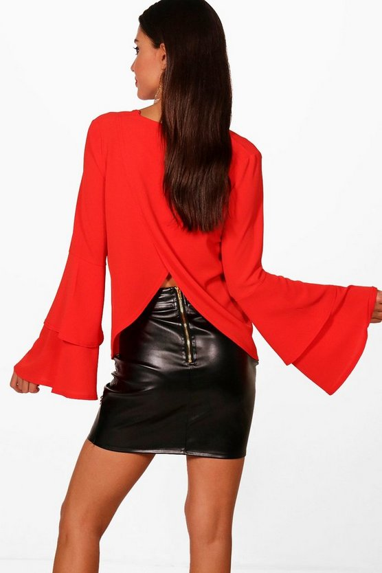 Plunge Front Ruffle Sleeve Top