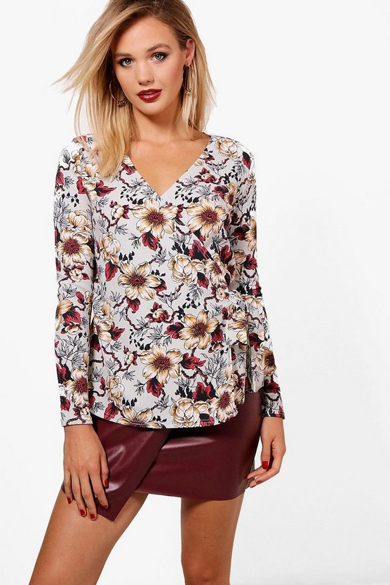 Womens Blue Nicole Crepe Printed Long Sleeve Wrap Top