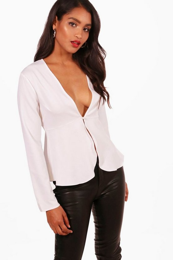 Plunge Button Front Peplum Blouse