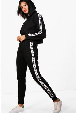 Womens Black Athleisure Sweat Slogan Tracksuit