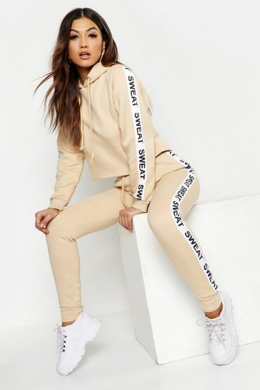 Womens Ecru Athleisure Sweat Slogan Tracksuit