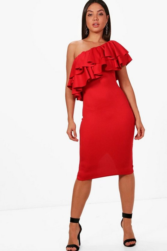 Ruffle One Shoulder Midi Dress