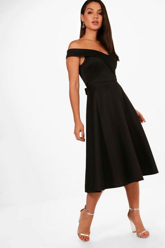 Off the Shoulder Scuba Midi Skater Dress