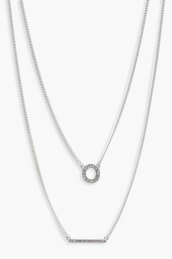 Diamante Circle And Bar Layered Necklace