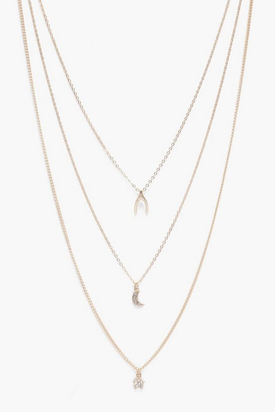 Wishbone Star And Moon Layered Necklace