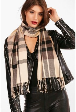 Womens Cream Check Woven Scarf