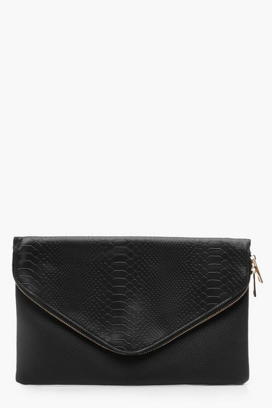 Lucy Faux Snake Fold Over Clutch Bag