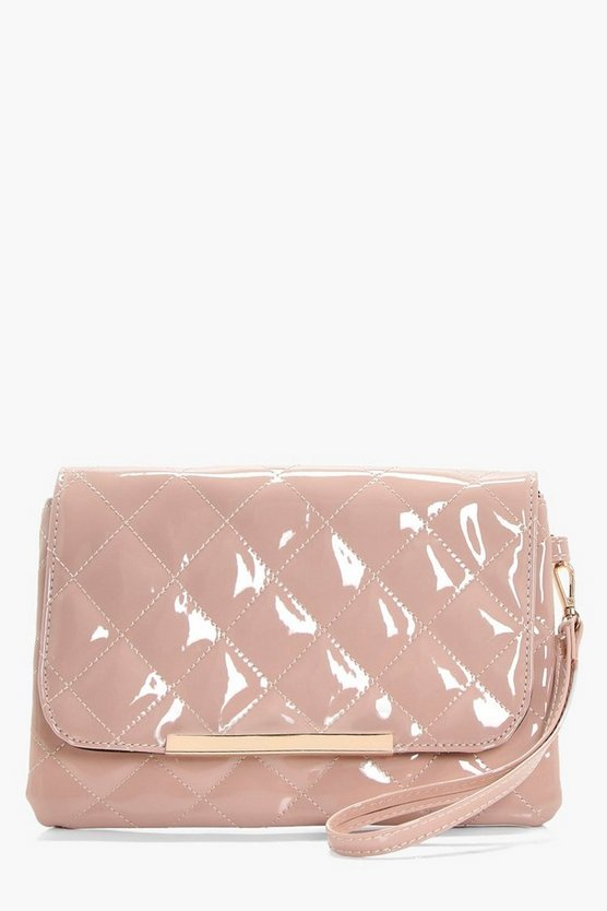 Anna Quilted Patent Clutch Bag