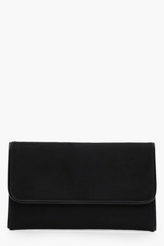 Emma Piped Edge Suedette Clutch