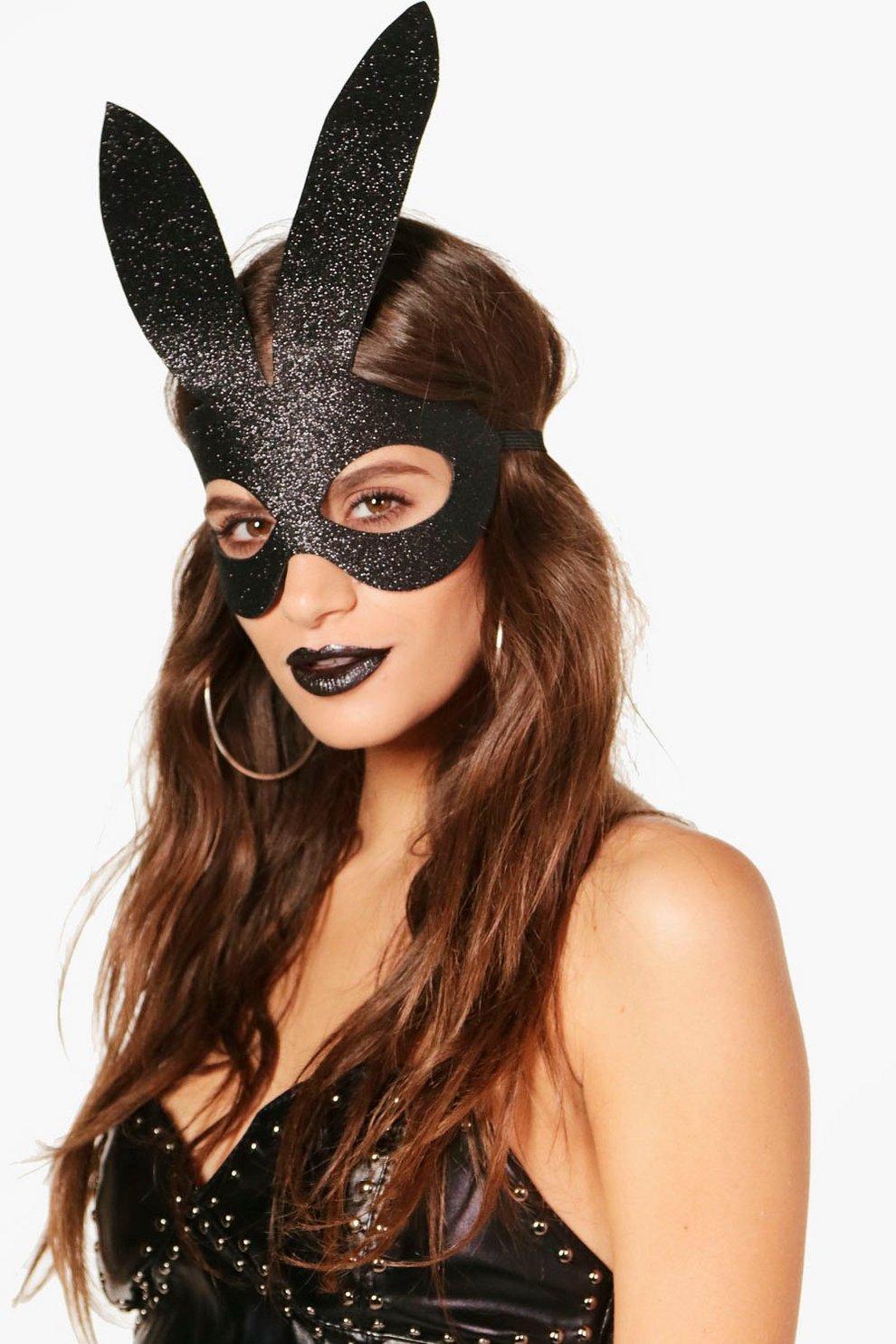 Womens Black Hanna Glitter Bunny Mask