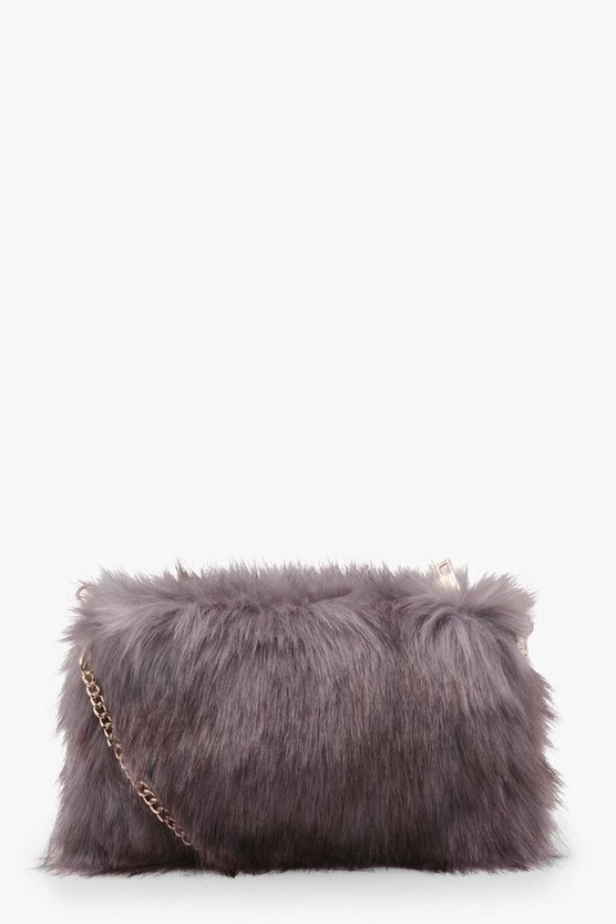 Talia Faux Fur Cross Body With Chain Strap