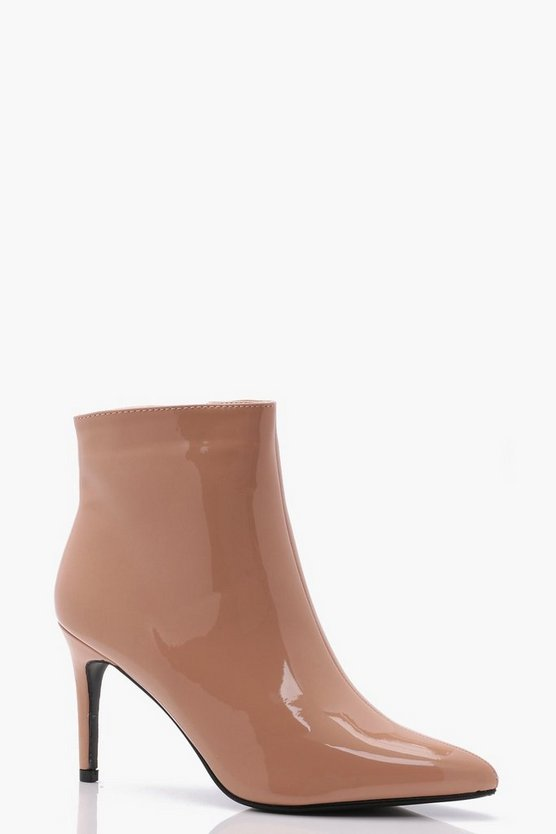 Abbie Patent Pointed Toe Ankle Boots