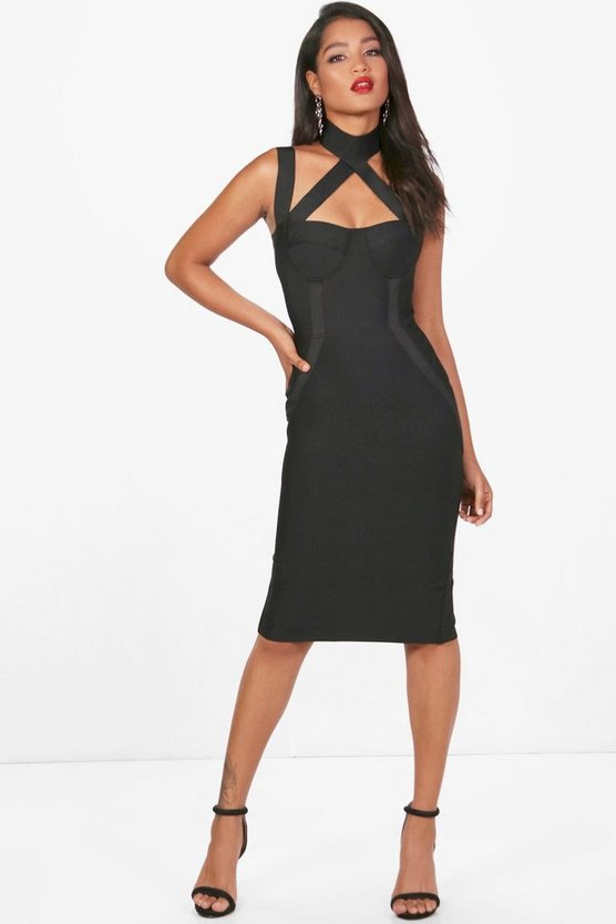 Womens Black Heavy Bandage Cutout Midi Dress