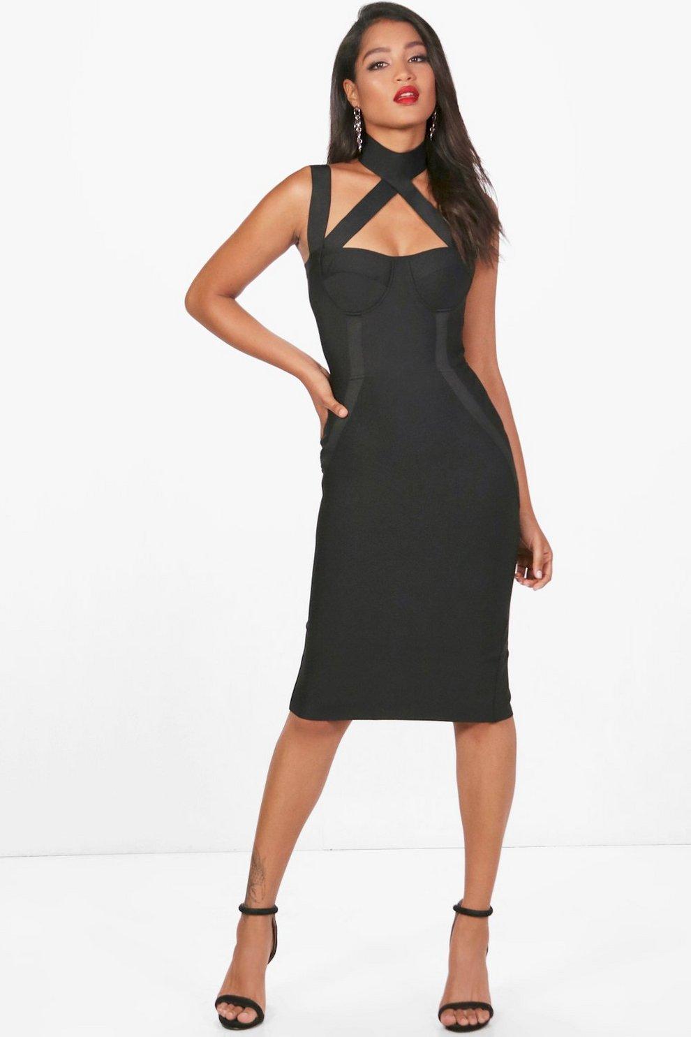 884c0b44e8c6 Heavy Bandage Cutout Midi Dress | Boohoo