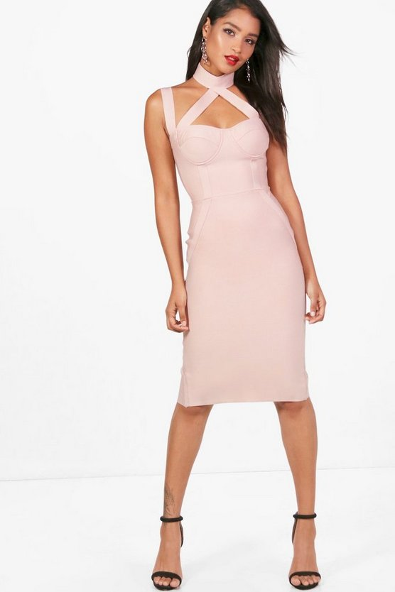 Heavy Bandage Cutout Midi Dress