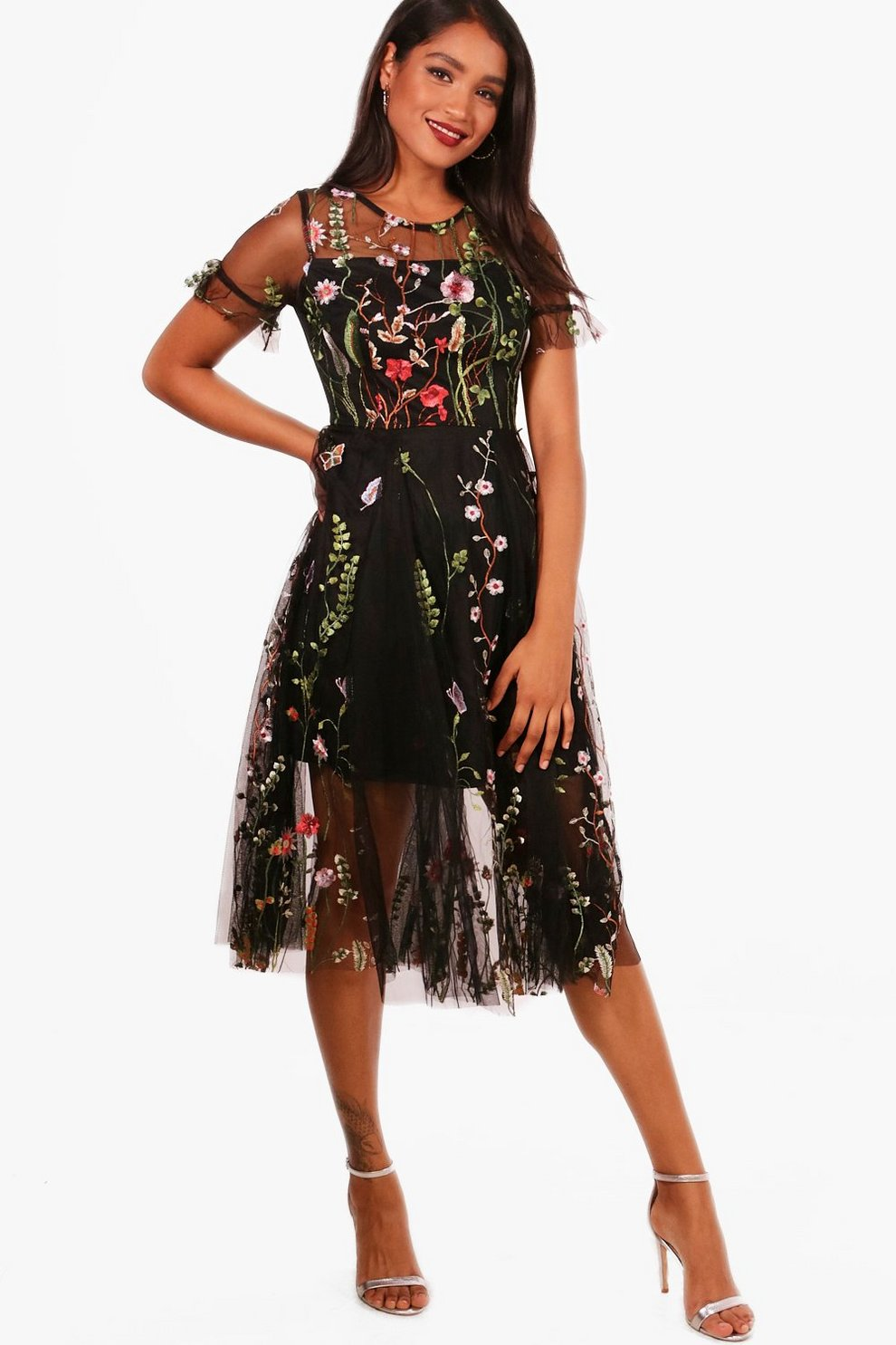 d13cddd85823 Boutique Bea Embroidered Midi Skater Dress | Boohoo