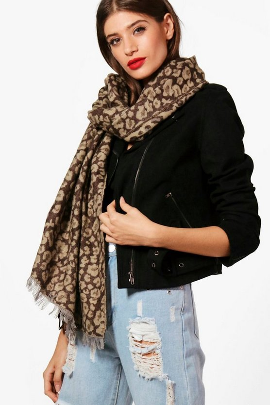 Womens Brown Amy Leopard Print Woven Scarf